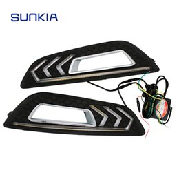 Wholesale Drl Lights Ford - Car LED DRL Daytime Running Lights with Turn Signal and Dimmed Style 12V for Ford Focus 4th 2015 2016 2017