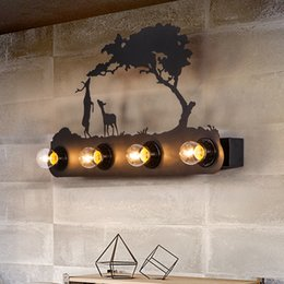 Wholesale Wall Chandelier Lamp - American industrial wind restoring ancient ways mustang chandeliers of bedroom the head of a bed wall lamp, creative personality, wrought ir
