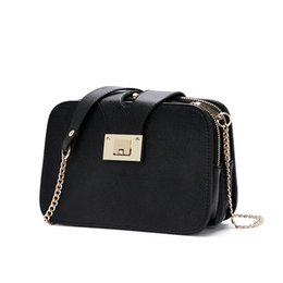 Wholesale messenger ups - Wholesale- Fashion Female Black Small Purse Mini Crossbody Bags Women Messenger Bags Ladies Pu Leather Shoulder Bag Make Up Phone Chain