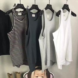 Wholesale Mens Fashion Cotton Tank Tops - 2017 Summer New Fear of God Tank Tops Style Hip Hop Justin Bieber FOG Vest Mens High Quality Oversized Stripe Fear Of God Tank Tops
