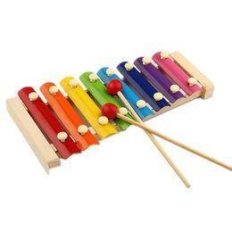 Xilofones de madeira on-line-Bata de madeira oito piano crianças brinquedo instrumento de percussão de madeira por atacado início do bebê / personalização personalidade xilofone