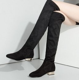 Wholesale girls leather high heel boots - New Arrival Hot Sale Specials Influx Sweet Girl Sexy Spike Suede Black Thin Leg Stretch Straight Elastic Stovepipe Knee Boots EU34-43