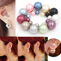 Wholesale Earring Pearls - Hot Sell Mix 12 Colors High Quality Free Shipping Double Sided Pearl Earrings Double Stud Earrings Double Pearl Stud Earrings for Women