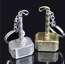 Wholesale Thor Key Ring - 2 Color The Avengers Thor Hammer Keychain 7.4cm Metal pendant keyring movie jewelry key chain ring for man free shipping JF-705