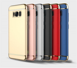 Wholesale Wholesale Parts For Cell Phones - Electroplate PC Hard Goophone Cell Phone Case For Samsung S8 S8 Plus S7 S7 Edge 3 Parts 3 in 1 Skylet Cover 20PCS