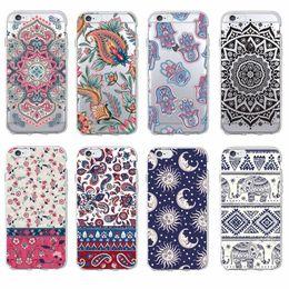 Wholesale Tribal Iphone 5c Cases - Boho Indian Floral Lotus Elephant Paisley Tribal Soft Phone Case Coque Fundas For iPhone 7 7Plus 6 6S 6Plus 5 5S SE 5C