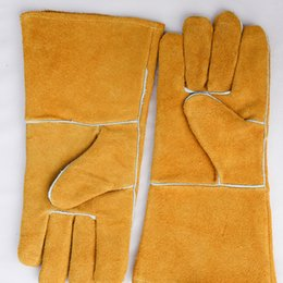 Wholesale Yellow Work Gloves - Yellow Cowhide Cotton Welding Gloves High Temperature Wear-Resistant Work Labor Protection for Cutting, Welding and Moving Bricks