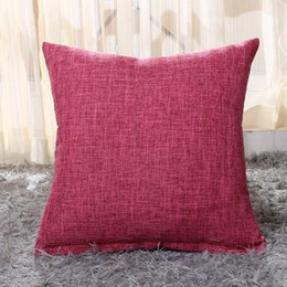 Wholesale Thick Fabric Wholesale - Plain Color Square Pillow Cover Thick Flax Fabric Cushion Cover Throw Pillowcase 45*45CM Decor Pillow Case