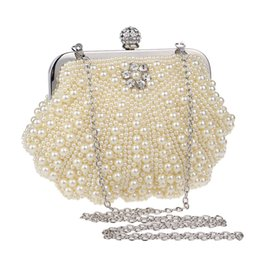 Wholesale Jelly Evening Bags - Womens Faux Pearl Cascading Bead Rhinestone Evening Clutch Fashion Purse Rhinestone Crystal Minaudiere Hard Mini Party Clutch Bags