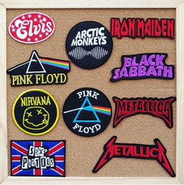 Wholesale Therapy Bands - Band iron on patches therapy fabric logo music badge cloth applique biker vest coat bag accessories embroidered wholesale