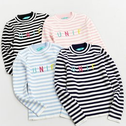 Wholesale Korean Sweater Warm - Wholesale- Women UNIF Letters Embroidery Striped Sweaters Stylenanda Korean Fashion Knitted Wool Blend Thick Warm Pullover Jumpers Sueter