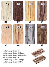 Wholesale Hard Wood Back Cover Case - For Samsung Galaxy S6 Edge Plus S7 Edge S8 Plus Case Wood grain Back Cover Case Ultra-thin TPU Hard Protection Case Phone Shell
