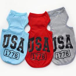 Wholesale Cheap Large Dog Clothes - USA 1776 Dog Pet Soft Vest Ventilate Puppy Dog Cotton Coats Cheap Cute Pet Clothes Pet Supplier 3 Color 6 Size Mix Order 50PCS LOT