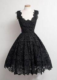 Clássico vintage prom vestidos on-line-2019 novo clássico do vintage pouco preto vestidos a linha scalloped-borda na altura do joelho-comprimento 50 s lace preto festa de formatura do baile vestidos de baile 176