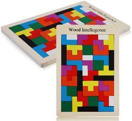 placas de quebra-cabeça Desconto Quente! Crianças Quebra-cabeças De Madeira Brinquedo Tangram Cérebro Teaser de Puzzle Brinquedos Tetris Jogo Educacional Kid Jigsaw Board Toy Presentes