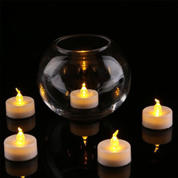 Wholesale flameless led candles - 3.5*4.5 cm LED Tealight Tea Candles Flameless Light colorful yellow Battery Operated Wedding Birthday Party Christmas Decoration
