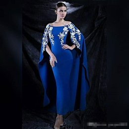Wholesale Vintage Boat Lights - Royal Blue Boat Neck Long Arabic Style Evening Dresses 2017 Stretch Satin Off the Shoulder White Lace Mermaid Formal ankle-length prom Gown