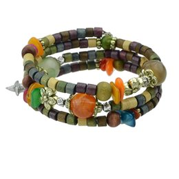 Wholesale Antique Bead Wood - Colorful Wood and Beads Antique Gold-Color Silver Color Multilayer Chain Geometric Bracelets Bangles with Star Leaf Charm