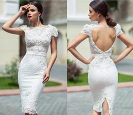 Wholesale Unique Lace Dresses - 2017 Cristallini Reception Dresses Unique Custom Knee Length Lace Sheath Cap Sleeves Hollow Back Behind Split Short Garden Wedding Dresses