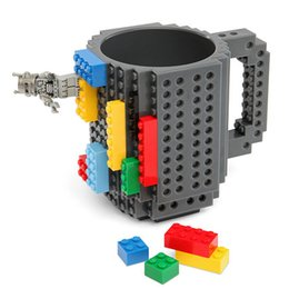 Wholesale Christmas Coffee Mugs Gifts - Wholesale- Hot sales Creative DIY Building Blocks Mugs Lego Type Children Kids Christmas toy Mug gift Coffee milk Cup Puzzle Mug 12oz 350ML