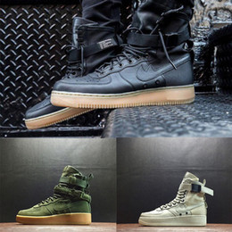 Wholesale Womens Black Canvas - 2017 Witnter Special Racers Field SF AF1 One Boots Black Gum Light Brown 859202 009 Mens Womens Sport Athletic Trainers size 36-45
