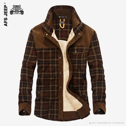 Wholesale Shirt Flannel - Wholesale- Men Winter Flannel Thick Plaid Dress Shirts Long-Sleeve Fashion Cotton Casual Shirts Quality British Style Fleece Wear Male Army