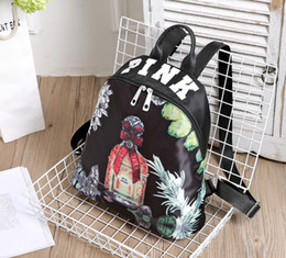 Wholesale Exo Style - 2017 New style Women Leather EXO School Backpack Preppy Style Small Printing Travel Floral Backpack For Teenage Girls Bag mochila feminina