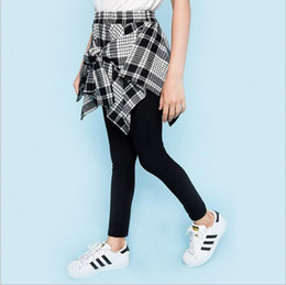 Wholesale Childrens Trousers - Teenager Fashion Plaid Pants Big baby Girls Fashion Bow Trouser Junior Autumn Casual Pants 2017 childrens clothing