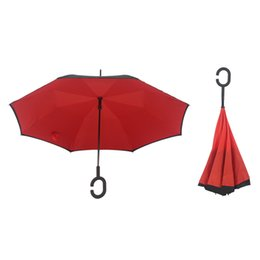 Wholesale Folding Rain Umbrellas - Windproof Reverse Folding Double Layer Inverted Umbrella Self Stand Inside Out Sunshade Rain Protection C-Hook Hands Free DHL
