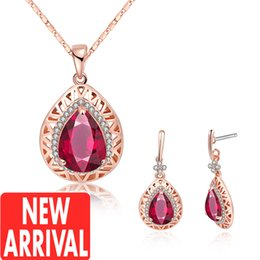 Wholesale Cheap Onyx - Earrings & Necklace Womens gold necklace Ruby earrings New Arrival Wholesale Discount Fashion Brands Designer Online Store With Cheap Price