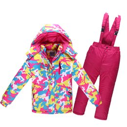 Wholesale Skiing Clothes For Children - Wholesale- 2016 Winter Warm Windproof Children Ski Suit For Boy Girl Kids Camouflage Ski jacket Pant Waterproof clothing set 3-12Y