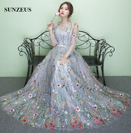 Wholesale Three Quarter Sleeve Evening Gowns - Three Quarter Sleeves Embroidery Lace Formal Dress Beautiful A-line Princess Evening Dresses Long Party Gowns In Stock Free Shipping