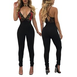 Wholesale Ladies Body Harness - Bodycon Jumpsuit Special Offer Print 2017 Summer New Siamese Pants Sexy Nightclub Jumpsuit Ladies Embroidery Harness Tight Body