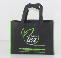Wholesale Custom Printing Companies - Wholesale- 1000pcs lot 30x40x10cm Custom printed 2 colors company logo gift non woven bags reusable shopping bags for ads Free Shipping