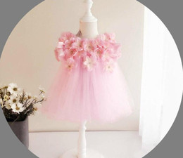 Wholesale Knee Length Floral Chiffon Dress - Baby Girl Wedding Dresses 3D Stereoscopic Applique Infant Princess 1 Year Birthday Party Dress Newborn Christening Gowns