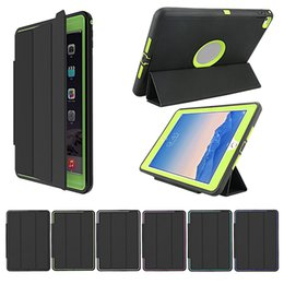 Wholesale Rugged Hybrid Ipad Case - 3 in 1 Hybrid Defender ipad Case For iPad new 2017 pro air 2 3 4 mini Duty Armor Impact Rugged Shockproof Case With Auto Sleep Awake Cover