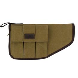 Wholesale Pistol Handgun Case - Tourbon Tactical Pistol Holder Case Canvas Handgun Pouch Carrier with Pocket Padded Protection Hunting Gun Accessories