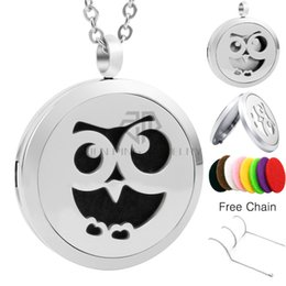 Wholesale Owl New Arrivals - Chain as Gift! New Arrival Owl 30mm Magnetic Diffuser Locket Essential Oils Perfume Diffuser Locket Stainless Steel