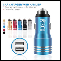 Wholesale Double Usb Charger Eu - Metal USB Car Chargers Dual USB 5V 1A Charger 1000mA Safe Hammer double port universal charging adapters for iphone 5s Samsung NOTE3 LG