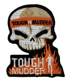 Wholesale Badge Embroidery Designs - Latest Design TOUGH MUDDER Skull Embroidered Patch Badge Iron On Jacket Applique Embroidery Patch Supplier