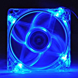 Wholesale Axial Chassis - pc computer fan 80mm with 4ea led 8025 8cm silent DC 12V LED luminous chassis molex 4D plug axial fan