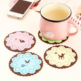 Wholesale Multifunctional Tableware - Multifunctional heat pad tableware bowls mat insulation pad cute cartoon forest animals carved soft lace coasters