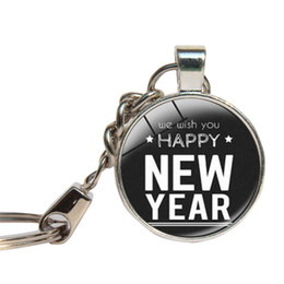 Wholesale Happy New Year Glasses - New Year Day Keychain Glass Cabochon Happy Holiday Merry Christmas Key Ring Glass Dome Key Chains Jewelry Pandent Key Holder