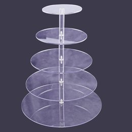 Wholesale Towering Tiers Cake Stand - 5 4 3 Tier Acrylic Cupcake Stand Transparent Cake Tower Rack Holder Pan Wedding Decoration Party Birthday Display Tool wn100