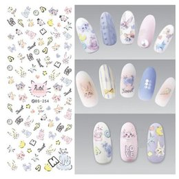 Wholesale Free Draw Cartoons - Water Transfer Nails Art Sticker Colorful Cartoon Cats Drawing Nail Wraps Foil Sticker manicure stickers 50pcs lot free shipping