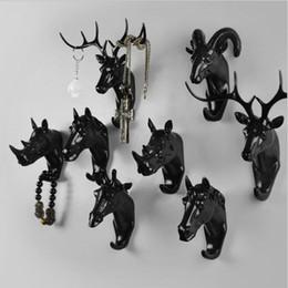 Rhino 3d online-American Creative Deer Rhino Elefante testa animale decorativo gancio cappotto gancio vestiti retrò appeso portico 3D Point Bar