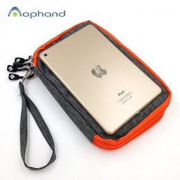 Wholesale Ipad Disk - Wholesale- HDD Cloth Storage Bag For iPad mini 1 2 3 4 U Disk Charging Cable Adapter Hard Disk Powerbank Earphone TF card With Rope