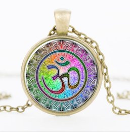 Wholesale Murano Glass Gold Pendant - Newest Style Casual Yoga OM Necklace Pendant Necklace Fashion Round Ethnic Silver Bronze Plated Colorful Murano Slass Jewelry For Women Men