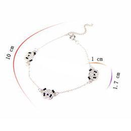 Wholesale Charm Anklet Bracelet - Pandas Delicate Super Lovely Imitation Diamond Pandas Anklet Bracelet(Silver) B151