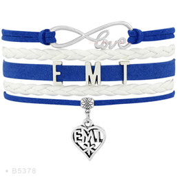 Wholesale Ot Light - Infinity Love EMT GOLF OT Heart Charm Bracelets For Women Jewelry Black White Light Blue Suede Leather Wrap custom